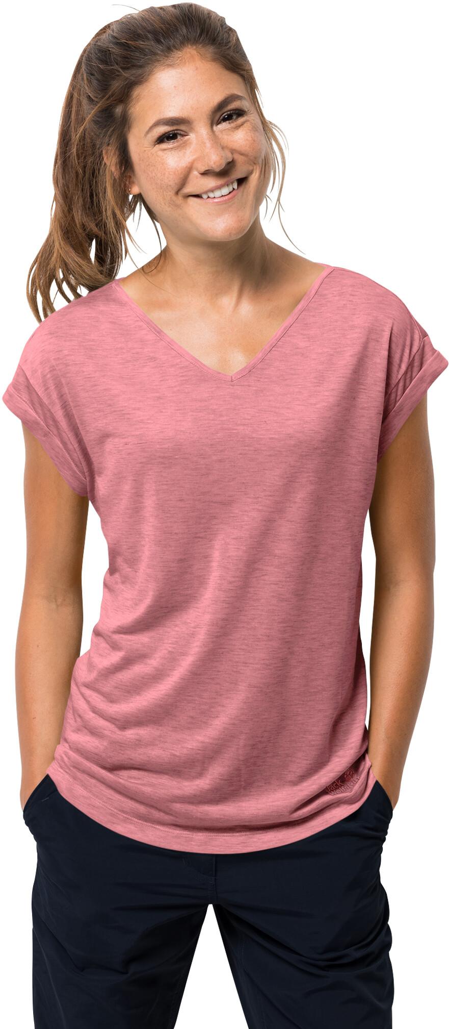 T Shirt Jack Wolfskin Travel Hoody Rose Quartz Damen