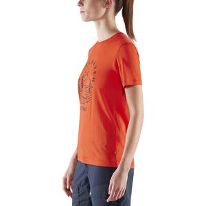 Fjällräven Abisko Tältplats Kurzarm-Wollshirt Damen flame orange flame orange
