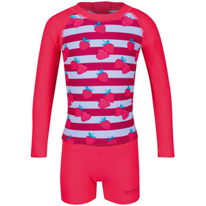 Regatta Valo Rash Badeanzug Kinder pink/weiß pink/weiß
