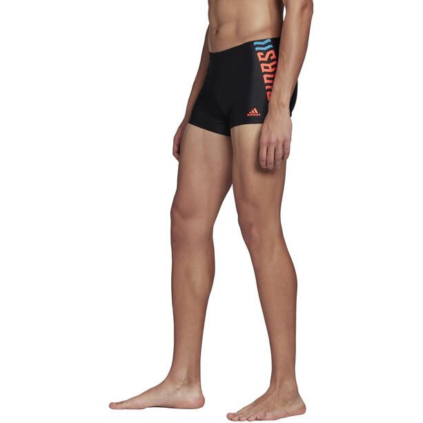 adidas Fit Lineage BX Schwimm-Boxershorts Herren black/app solar red/shock cyan