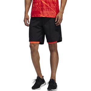 "adidas OWN The Run 2N1 Short 7"" Homme, black/solar red black/solar red"