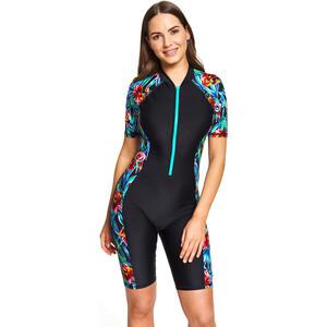 Zoggs Hybrid Tropics Knielanger Badeanzug Damen black/multi black/multi