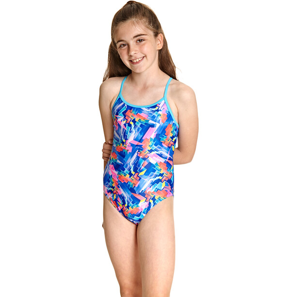 Zoggs Digital Geo Sprintback Badeanzug Mädchen blue/multi