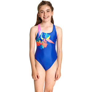 Zoggs Digital Geo Rowleeback Swimsuit Girls multi/blue multi/blue
