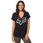 Fox Responded V-Ausschnitt Kurzarmshirt mit gerollten Ärmeln Damen black