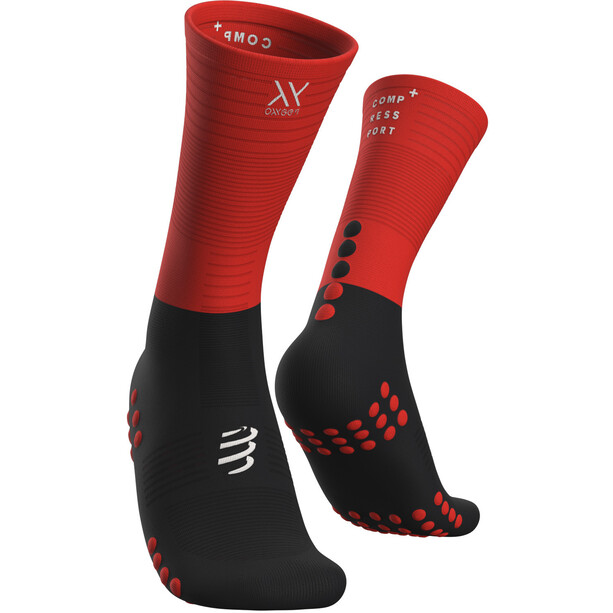 Compressport Mid Kompressionssocken black/red