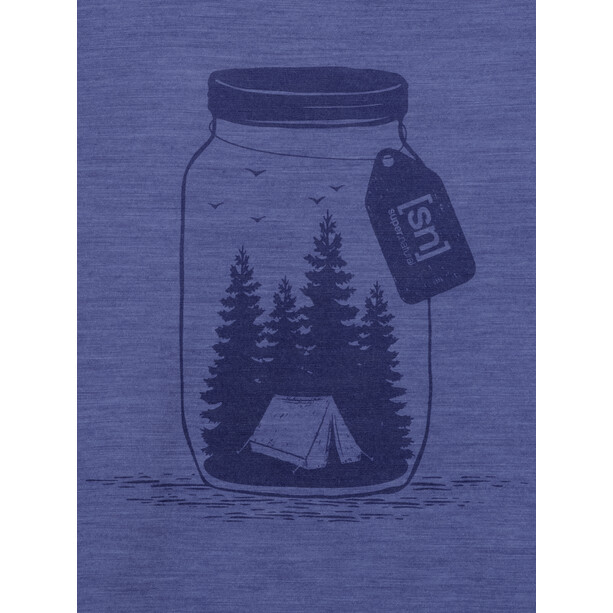 super.natural Printed T-Shirt Damen coastal fjord melange/blue iris camping jar