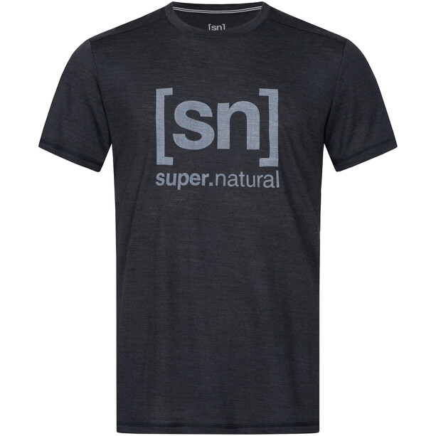 super.natural Logo T-Shirt Herren jet black melange/vapor grey logo