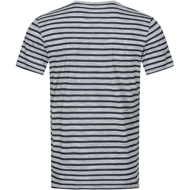 super.natural Comfort Print T-Shirt Herren ash melange/navy blazer fine stripe print