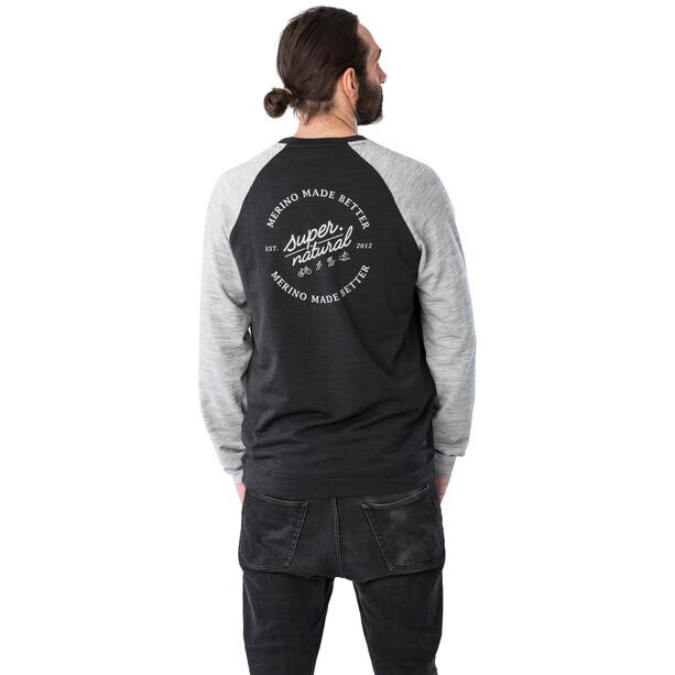 super.natural Signature Contrast Rundhals Sweater Herren schwarz/grau