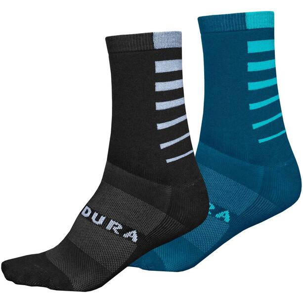 Endura Coolmax Stripe Socks 2-Pack Men, bleu