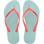 havaianas Slim Logo Flips Damen ice blue/coral new