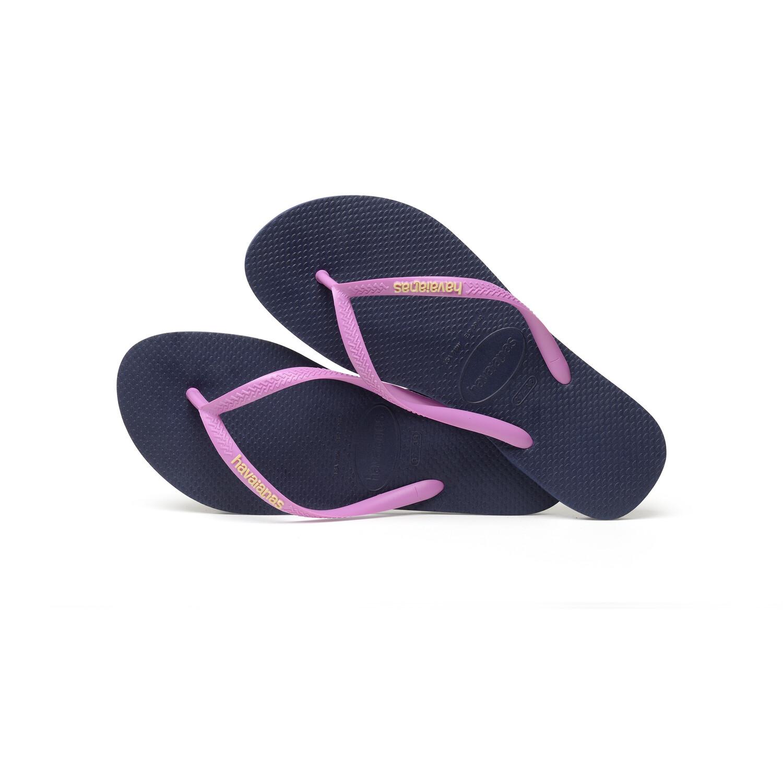 havaianas Slim Logo Flips Damen navy/ice pink