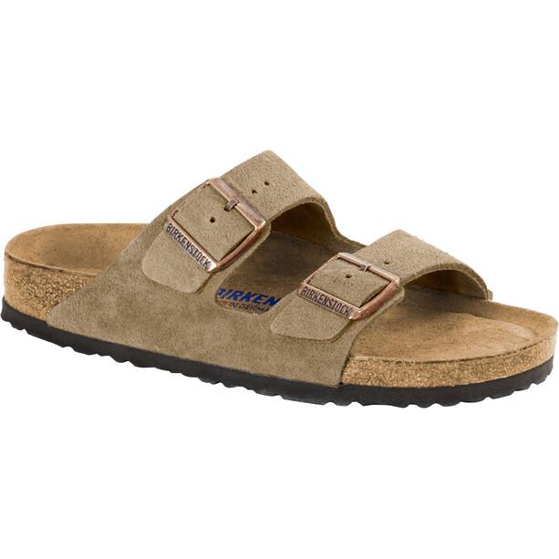 Birkenstock Arizona Soft Footbed Sandals Suede Leather Narrow, beige/ruskea