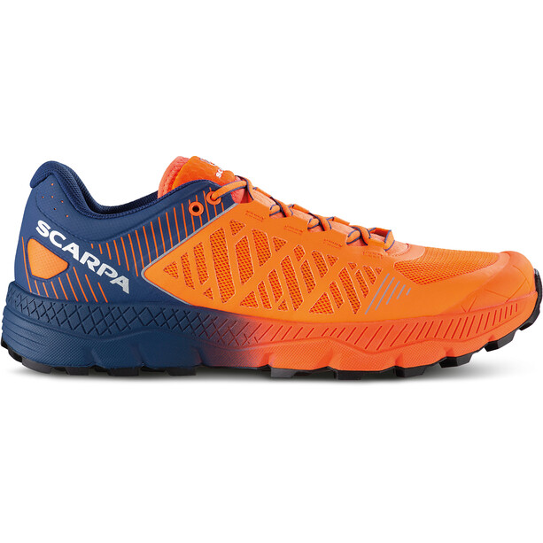 Scarpa Spin Ultra Trail Running Shoes Men orange fluo-galaxy blue