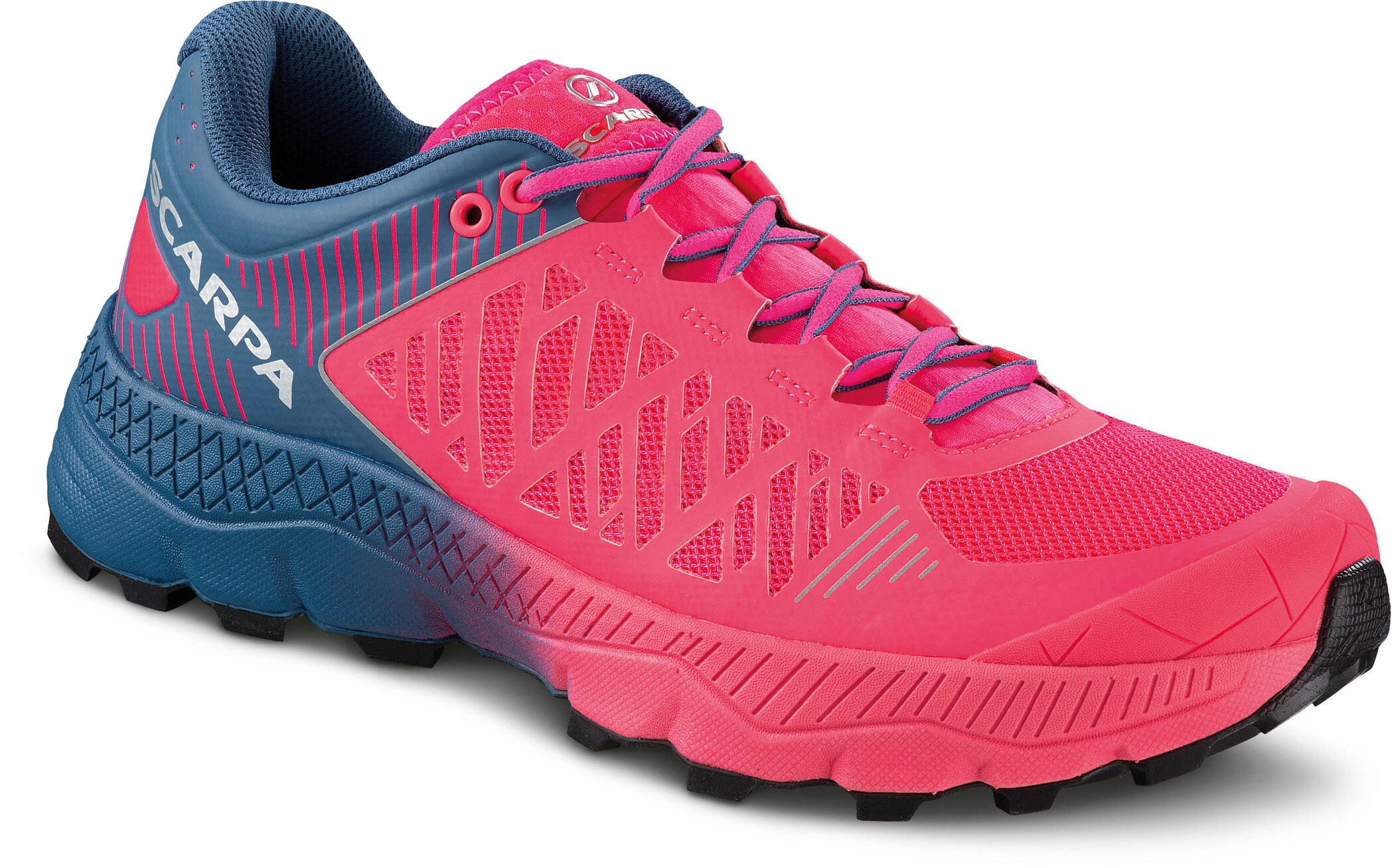 Scarpa Spin Ultra Trail Running Shoes Women rose fluo blue steel