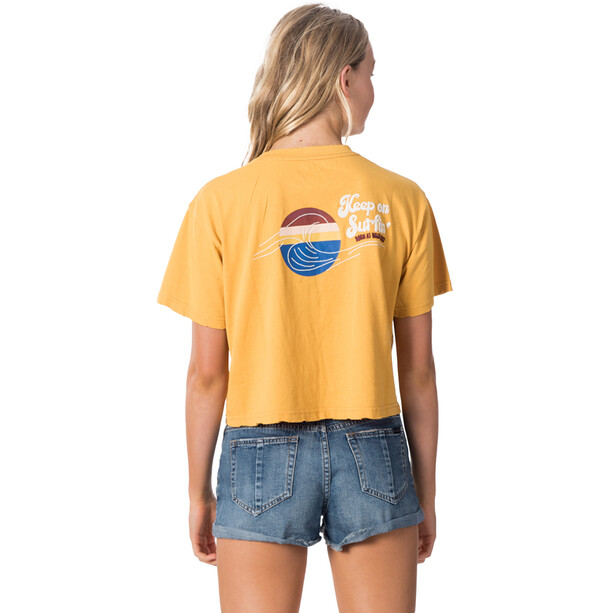 Rip Curl Keep On Surfin Crop Tee Women, yellow