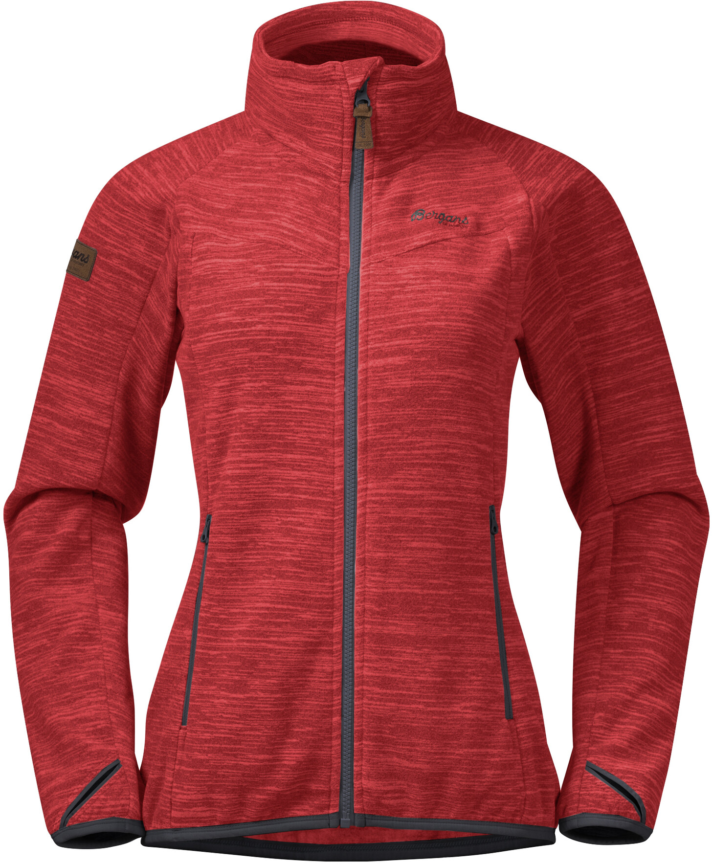Bergans Hareid NoHood Fleecejacke Damen red melangesolid dark grey