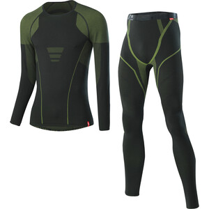 Löffler Transtex Warm Hybrid Kit Couches de base Homme, noir/vert noir/vert