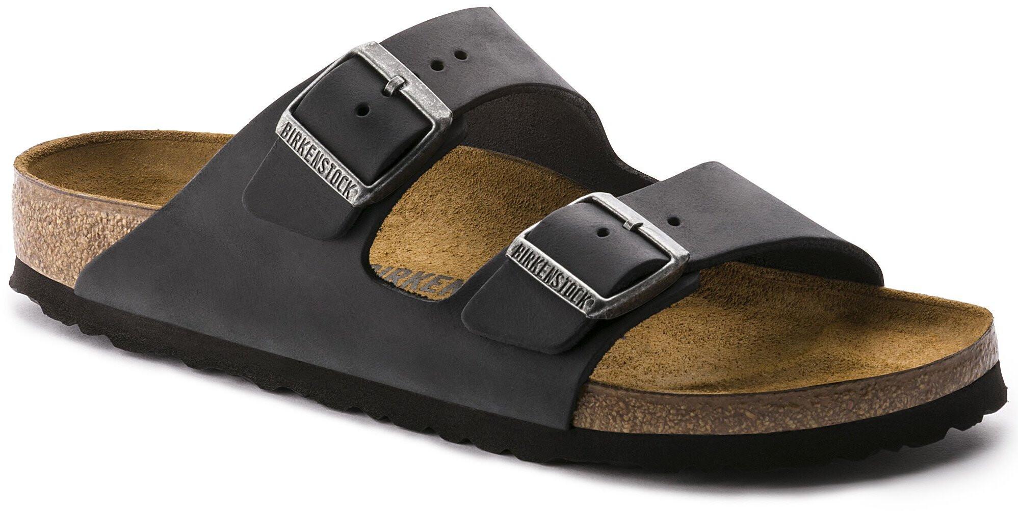 Birkenstock Arizona Sandals Oiled Leather Regular black