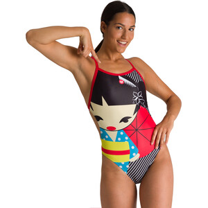 arena Crazy Kokeshi Lighttech Back One Piece Badeanzug Damen black/red black/red