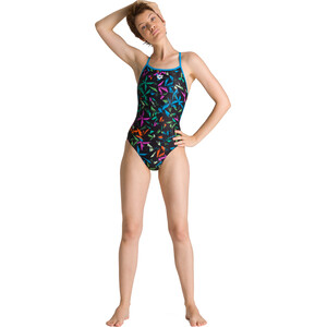 arena Multicolor Palms Accellerate Back One Piece Badeanzug Damen turquoise/multi turquoise/multi