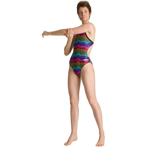 arena Multicolor Stripes Challenge Back One Piece Badeanzug Damen black/multi black/multi
