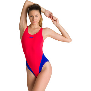 arena Solid Swim Tech High One Piece Badeanzug Damen fluo red/neon blue fluo red/neon blue
