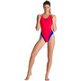arena Solid Swim Tech High One Piece Badeanzug Damen fluo red/neon blue