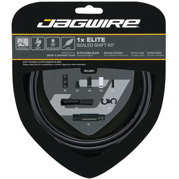 Jagwire 1X Elite Sealed Stealth Schaltzugset stealth black