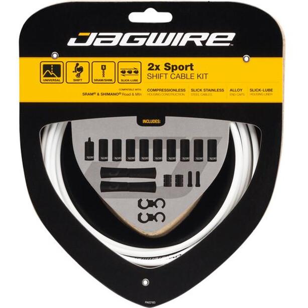 Jagwire 2X Sport Shift Set de câble de dérailleur pour Shimano/SRAM, blanc