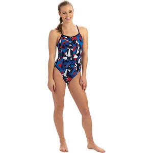 Dolfin Dynamite V Back One Piece Badeanzug Damen dynamite red/white/blue dynamite red/white/blue