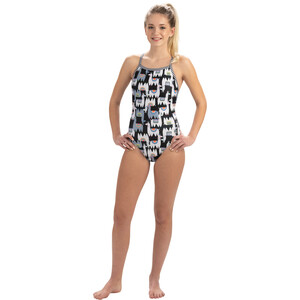 Dolfin Print V-2 Back One Piece Badeanzug Damen alpaca party alpaca party
