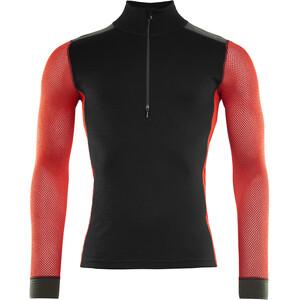 Aclima WoolNet Hiking Pystykaulus Paita Miehet, musta/punainen musta/punainen