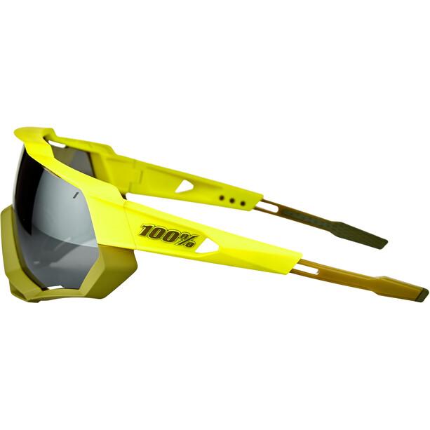 100% Speedtrap Brille soft tact banana/black mirror