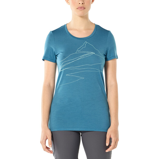 Icebreaker Tech Lite Sunrise Summit Kurzarm Low Crewe Shirt Damen blue spruce
