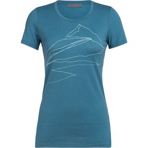 Icebreaker Tech Lite Sunrise Summit Kurzarm Low Crewe Shirt Damen blue spruce blue spruce