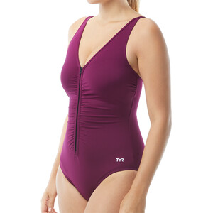 TYR Solids V-Neck Zip Controlfit Swimsuit Women black black