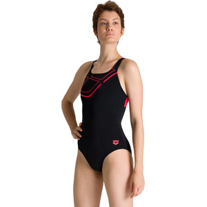 arena Essentials Swim Pro Back Badeanzug Damen black/fluo red black/fluo red