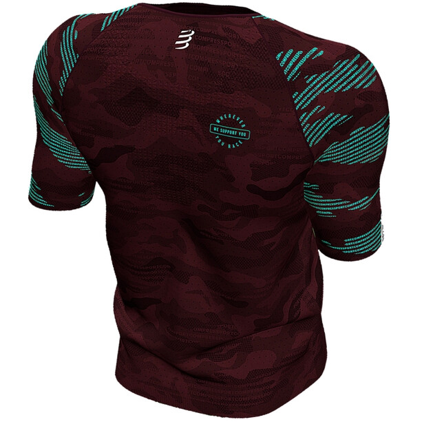Compressport Training Kurzarm T-Shirt Camo Neon 2020 Herren camo burgundy
