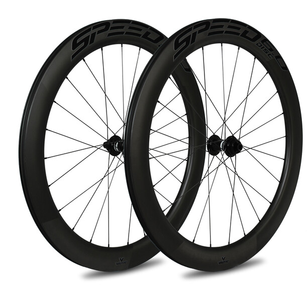 Veltec Speed 6.0 Road Wheelset 60mm Disc Brake QR XDR, musta