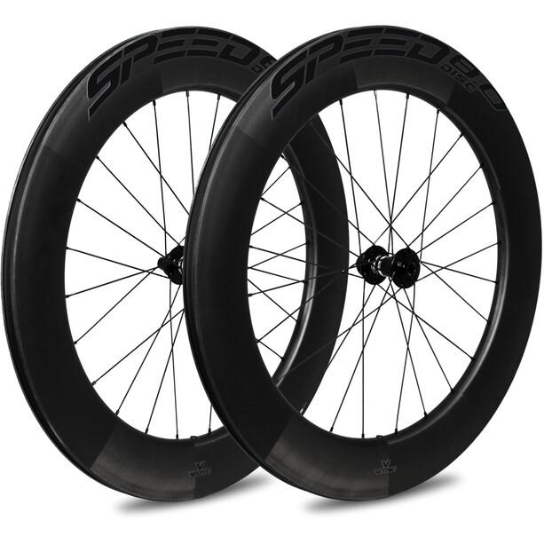 Veltec Speed 8.0 Road Wheelset 83mm Disc Brake QR XDR, musta
