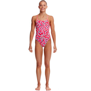 Funkita Single Strap One Piece Badeanzug Mädchen red ribbons red ribbons