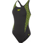 speedo Boomstar Splice Flyback One Piece Badeanzug Damen black/fluo yellow