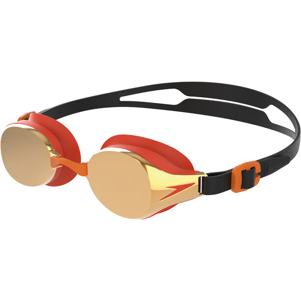 speedo Hydropure Mirror Goggles Kinder black/mango/gold