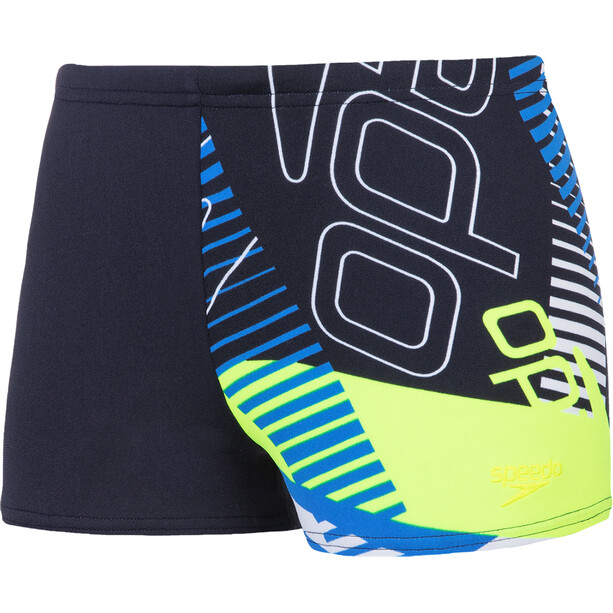 speedo Allover Aquashorts Jungen revival navy/bondi blue/fluo yellow