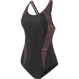 speedo Allover Panel Laneback Swimsuit Women wavecamo black/chocolate/coco wavecamo black/chocolate/coco