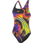 speedo Placement Digital Powerback Badeanzug Damen lunarwaver black/fluo yellow