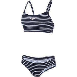 speedo Endurance+ Printed Thinstrap Bikini Damen 2020 stripe navy/white 2020 stripe navy/white
