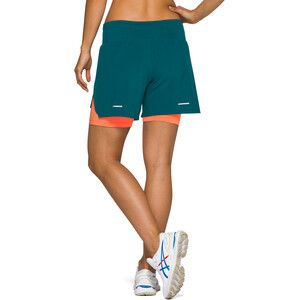 "asics Road 2-N-1 5,5"" Shorts Damen magnetic blue/flash coral magnetic blue/flash coral"
